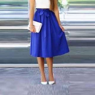 New Royal Blue Midi Skirt