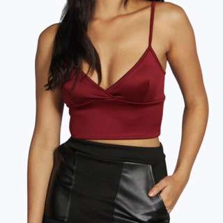 Scuba Plunge Wrap Crop Top