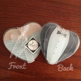 Heart Shaped Gown & Tuxedo Glass Coasters (Set of 2) Wedding Favours - Berkat 40 Sets Left!