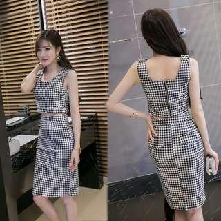 [Brand New]  Korean Style Sleeveless Checkered Two-Piece Suit