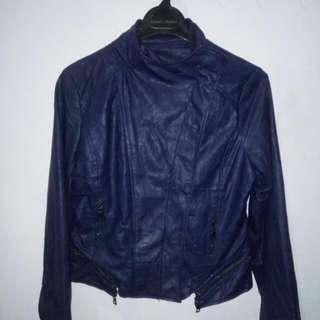 jaket kulit biru dongker