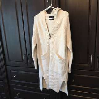 Zara Knit Sweater Coat - Off White/cream