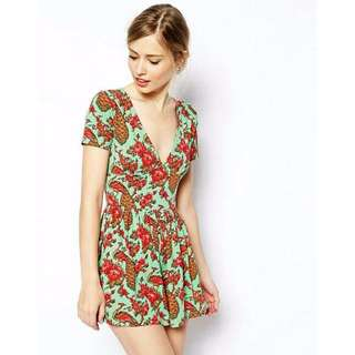 ASOS Peacock Playsuit in Green with Red Floral Print