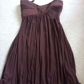 Bebe Strapless Brown Dress