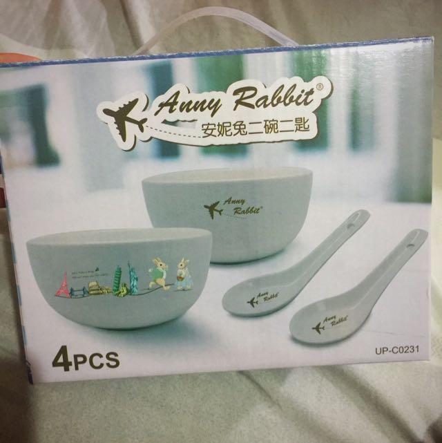✨全新✨安妮兔陶瓷二碗二湯匙🍽