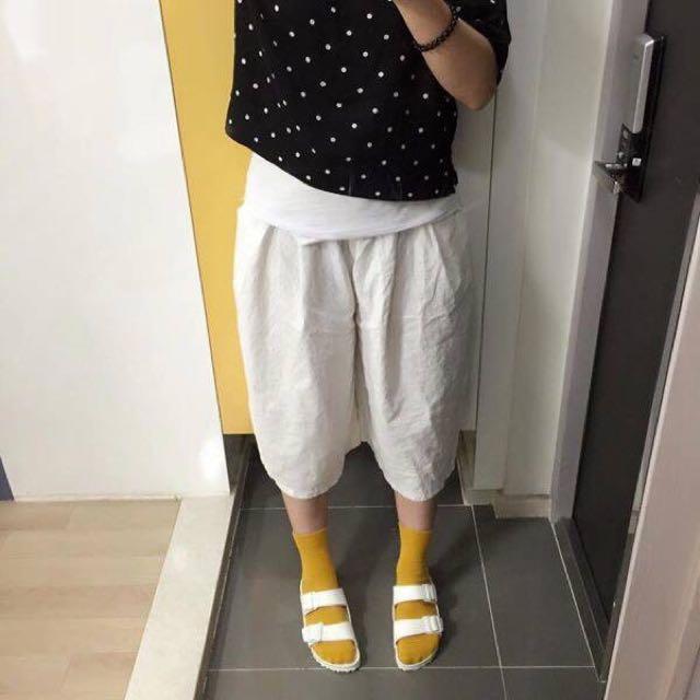 全新😍正韓麻質長褲裙