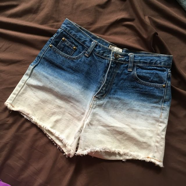 漸層牛仔短褲 L