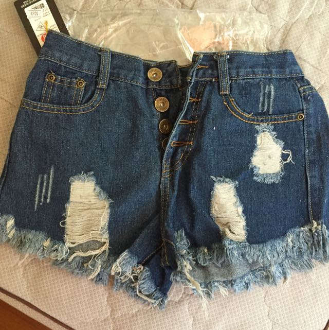 [全新/免運]百搭顯瘦高腰短褲 深藍M
