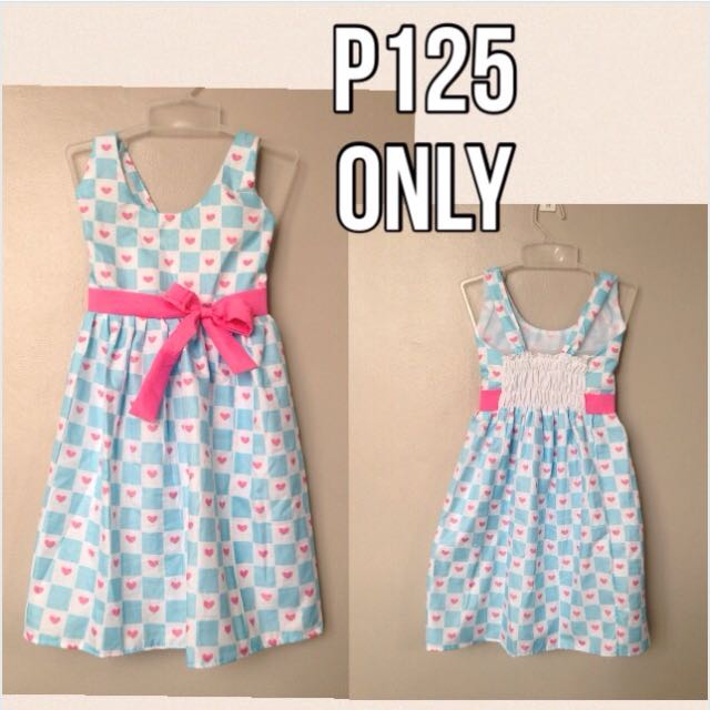Baby blue dress with pink hearts