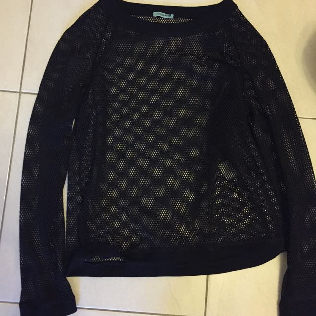KOOKAI Black Netted Long Sleeve Top