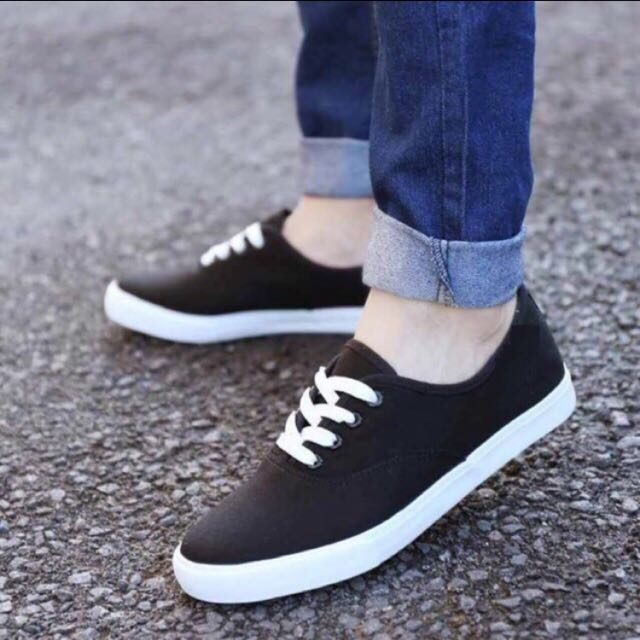 Canvas Lace-up Sneakers In Black&White