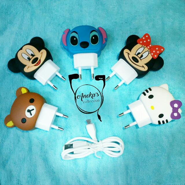 [Sold Out] Charger (output: 2,4A) Karakter Rilakkuma, Micky, Stitch, Minnie, dan Hellokitty for Smartphone.