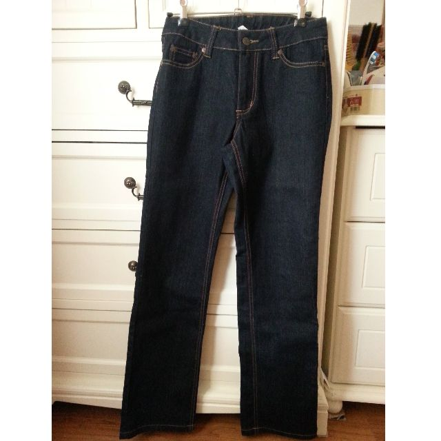 Denim Dark Blue Straight Leg Jeans