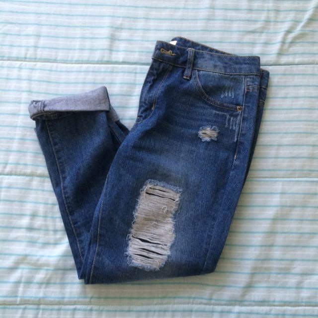 F21 Distressed Boyfriend Jeans