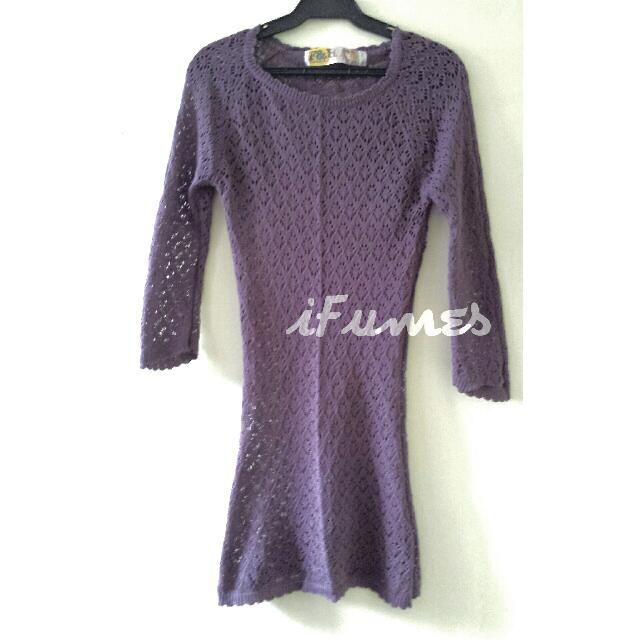 Folded And Hung Knitted Long Blouse