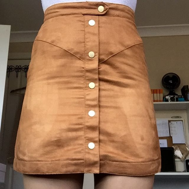 H&M Imitation Suede Skirt With Gold Buttons