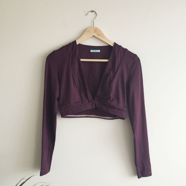 Kookai Burgundy/ Maroon Long Sleeve Crop Top Size 6 FREE SHIPPING