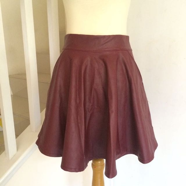 Maroon Leather Circukar Skirt