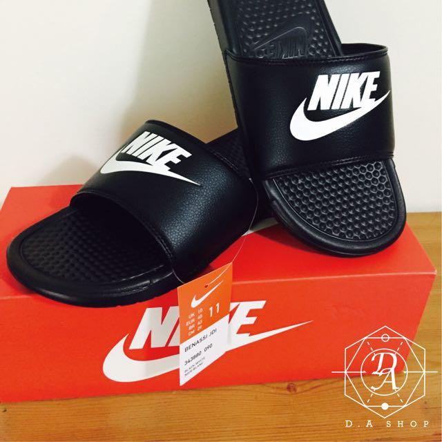 Nike拖鞋  正品公司貨 經典款 黑底白勾