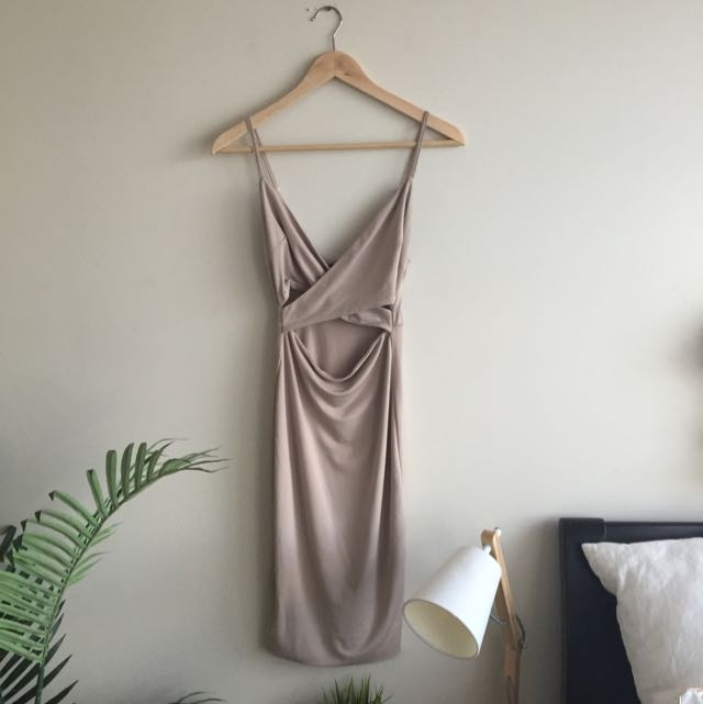 Nude Midi Dress Size 8 Super Sexy FREE SHIPPING