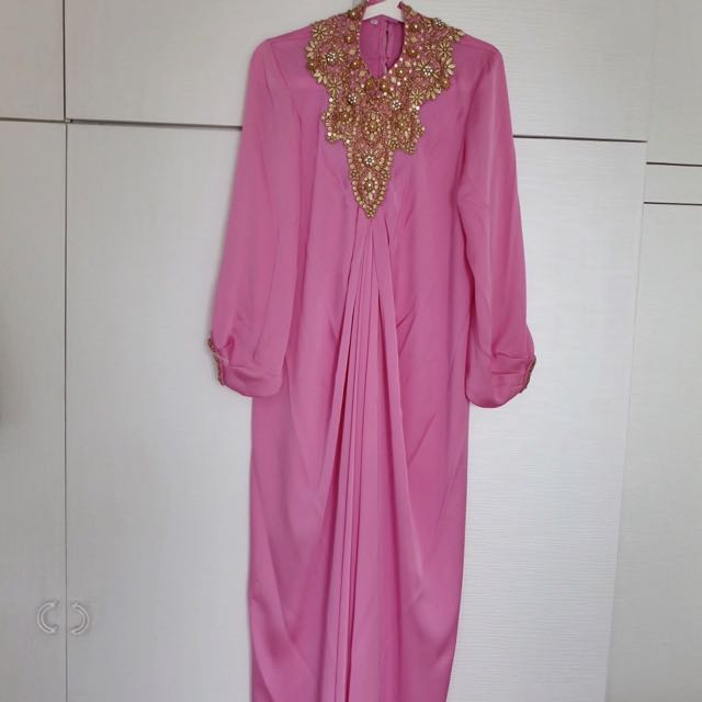 Pink Abaya With Gold Stone