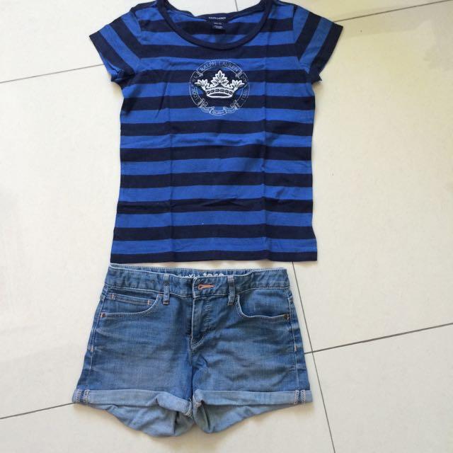 Ralp Lauren T-shirt Size 8-10 Gap Short Size 12