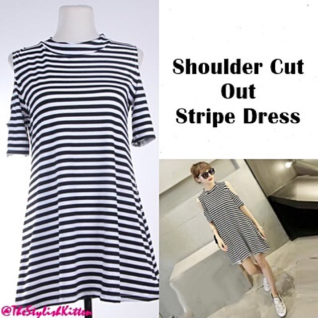 Shoulder Cut Out Stripe Dress