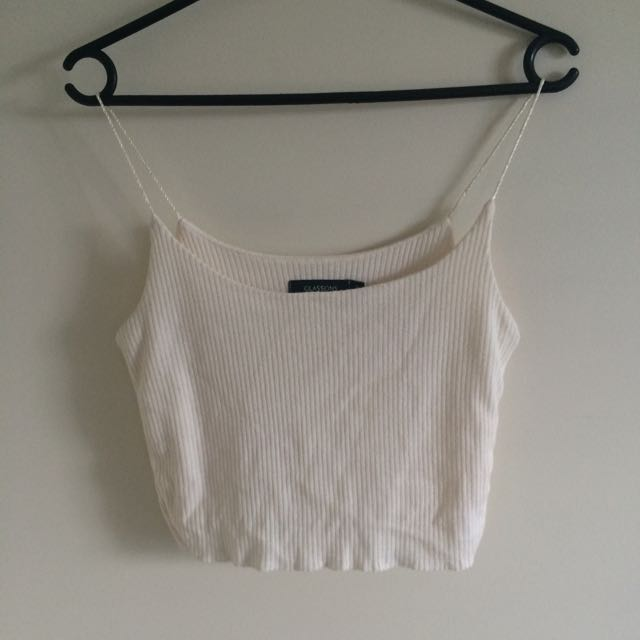 Spaghetti Strap Ribbed Crop Top