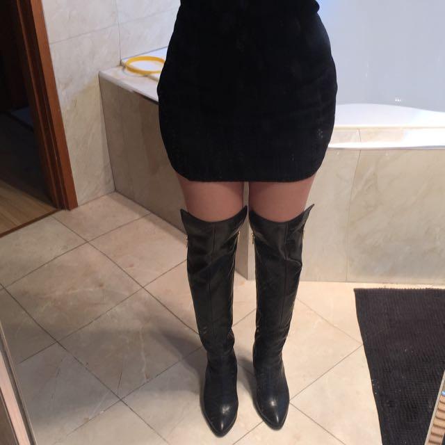 Tony Bianco Black Leather Boots