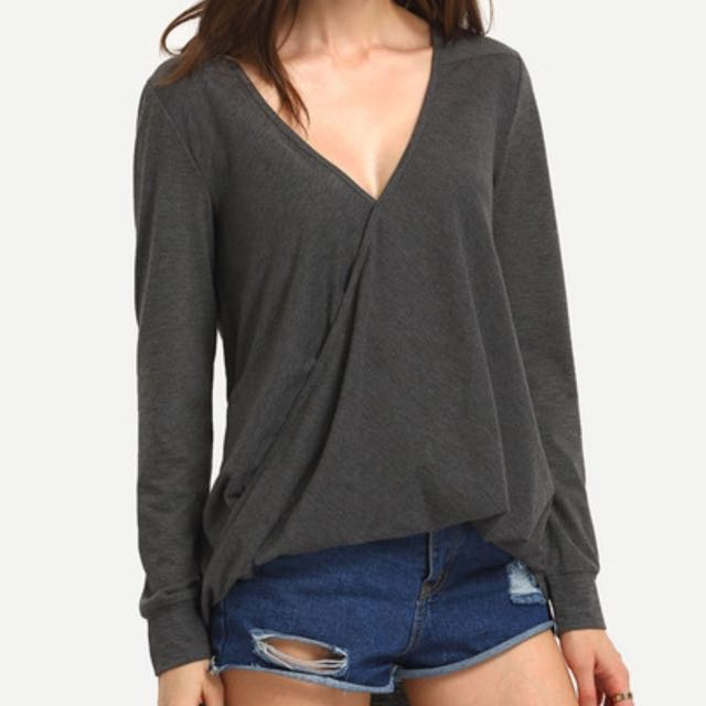 Wrap Front Draped Shirt | Size XS