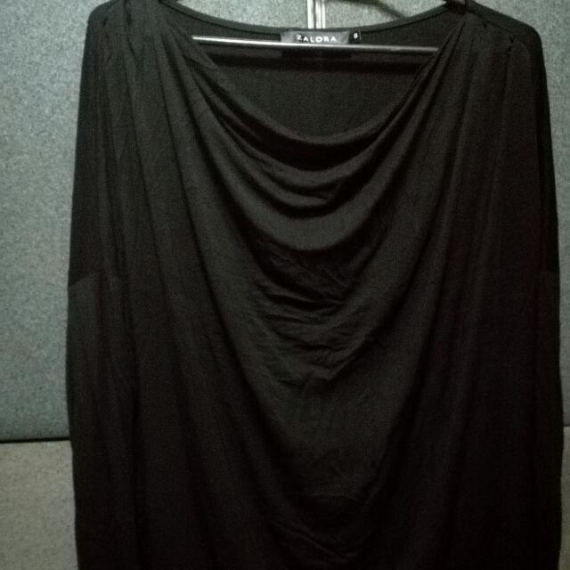 Zalora Black Drape Long Sleeves