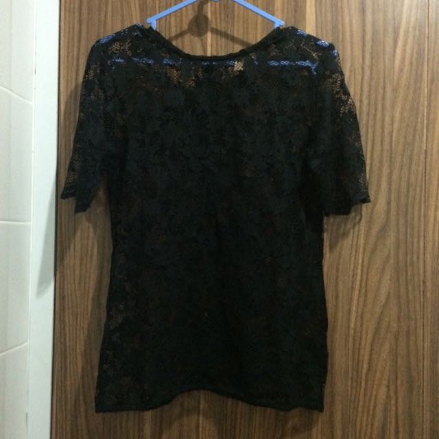 Zara Trafaluc Black Lace Top