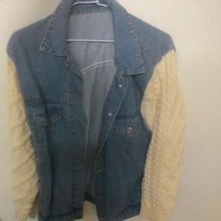 🚚 Puffi毛衣拼接牛仔外套#冬季衣櫃出清