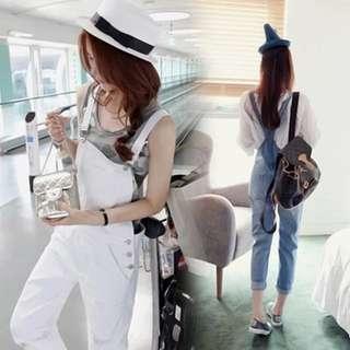 韓版牛仔背帶顯瘦9分褲