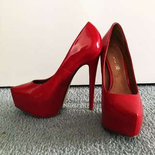 Deep Red High Heels (size 37)
