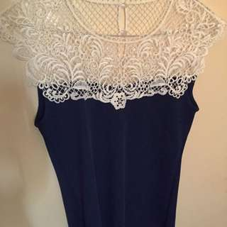 New & Never worn Beatific Navy And Crochet Top Size-S (8-10)