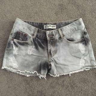 Distressed Tie Dye Grey-Black Shorts