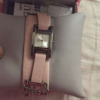 Pink Guess Charm Watch
