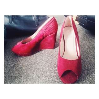 Suede Red Wedges