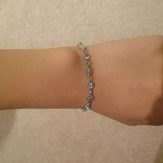 Blue Jeweled Flower Charm Bracelet