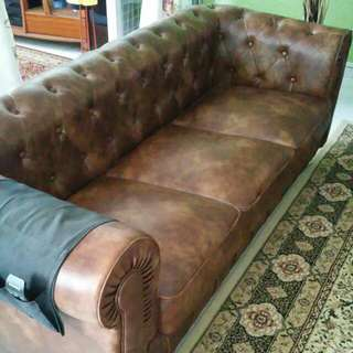 (Price Reduce) Leather Sofa, 3 Seat!