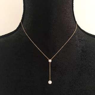 Crystal Y Drop Dainty Necklace