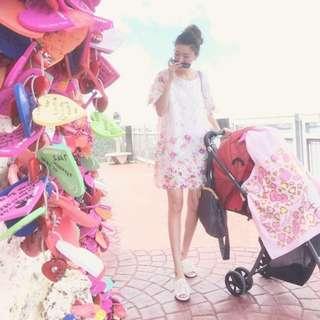 轉賣 蕾絲花瓣洋裝 日製法式浪漫染花蕾絲 誠可議