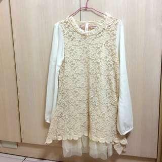 正韓蕾絲兩件式雪紡洋裝