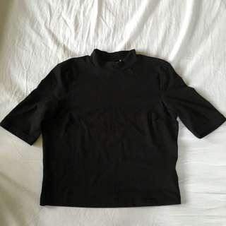Monki Black Cropped Turtleneck Top