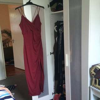 Bardot Burgundy Gala Dress