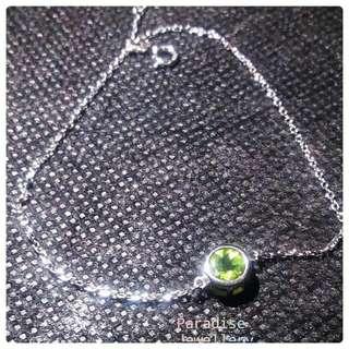 925 sterling silver 6mm faceted Peridot bracelet 925純銀 6mm橄欖石手鍊