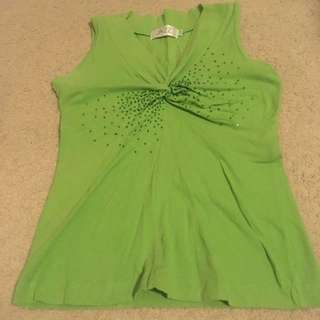 Green Sleeveless Top With Beads
