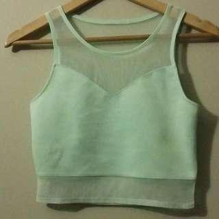 H&M Light Pastel Green Crop Top Size 8