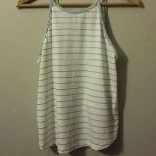 Mink Pink White And Blue Stripes Top Singlet Cut Out Back Section straps Size S (8-10)